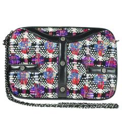 Chanel Multi-color Tweed and Leather iPad Clutch with Chain