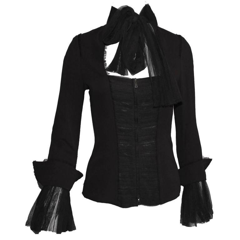 Black YSL Yves Saint Laurent by Tom Ford FW 2002 Tulle Silk Jacket Blazer