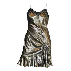 Sparkling John Galliano Metallic Lame Silk Lace Sequin Cocktail Dress