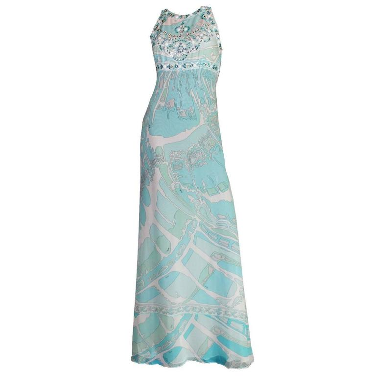 Stunning Emilio Pucci Seafoam Embroidered Crystal Sequin Silk Chiffon Gown Dress