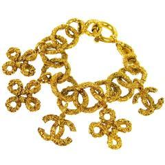 Chanel Vintage Gold Textured Charm Bracelet