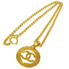Chanel Vintage Gold Large Coin Charm Pendant Long Drape Necklace in Box