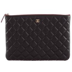 Chanel Black Caviar Leather LapTop iPad Pouch Carryall Storage Travel Clutch Bag