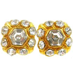 Chanel Vintage Gold Octagon Jewel Evening Stud Earrings