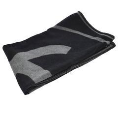 Chanel Black Gray Wool Decor Men's Women's Throw Blanket in Dust Bag Cover