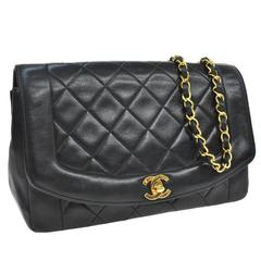 Chanel Black Lambskin Evening Flap Shoulder Bag