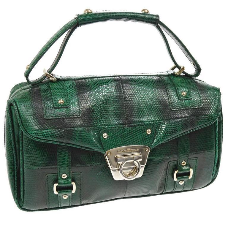 Salvatore Ferragamo Leather Snakeskin Embossed Evening Top Handle Satchel Bag