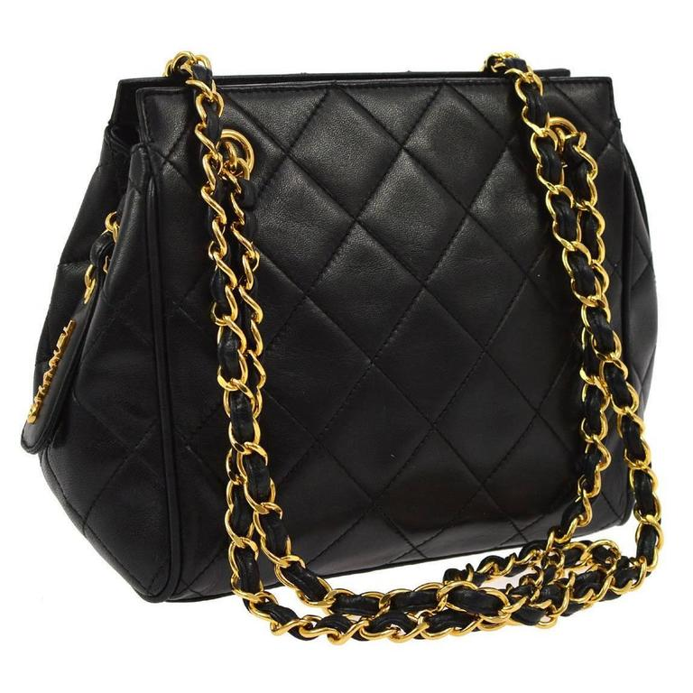 Chanel Black Lambskin Leather Top Handle Evening Shoulder Party Bag