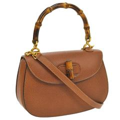 Gucci Cognac Leather Bamboo Top Handle Satchel Crossbody Evening Bag