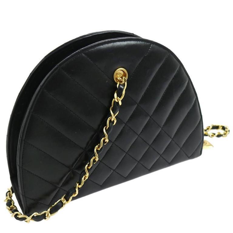 Chanel Black Lambskin Half Moon Small Top Handle Shoulder Flap Bag in Box 1