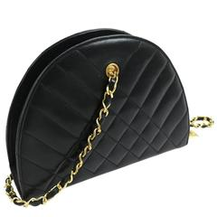 Chanel Black Lambskin Half Moon Small Top Handle Shoulder Flap Bag in Box