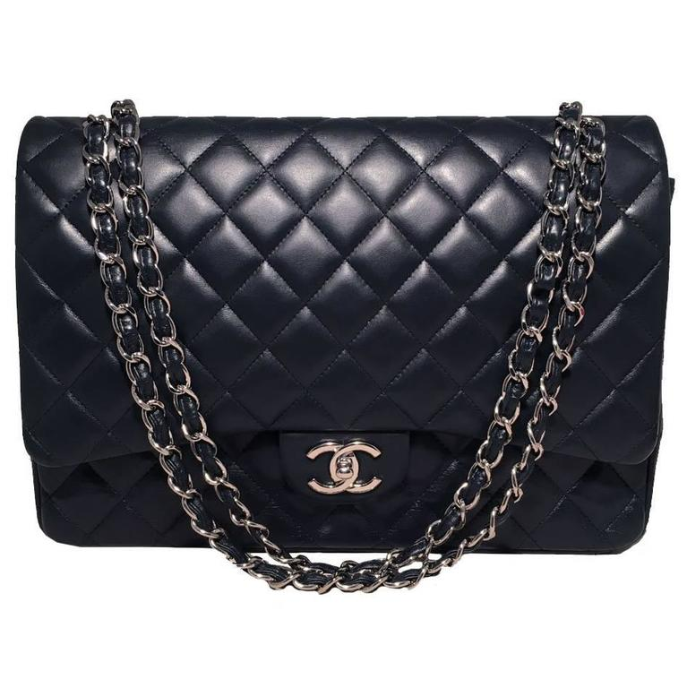 Chanel Navy Blue Quilted Lambskin Leather 2.55 Maxi Double Flap Classic For Sale