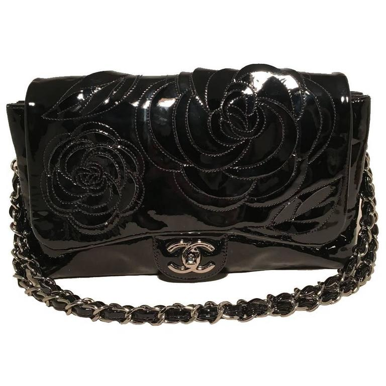 Chanel Black Patent Leather Camellia Flower Classic Flap Shoulder Bag 1