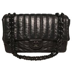 Chanel Rare Black Shimmery Leather Striped Quilted Jumbo Classic Flap