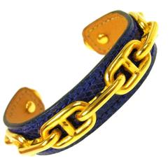 Hermes Gold Chain Leather Charm Cuff Bracelet