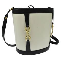 Gucci Leather Gold Horsebit Drawstring Bucket Bag