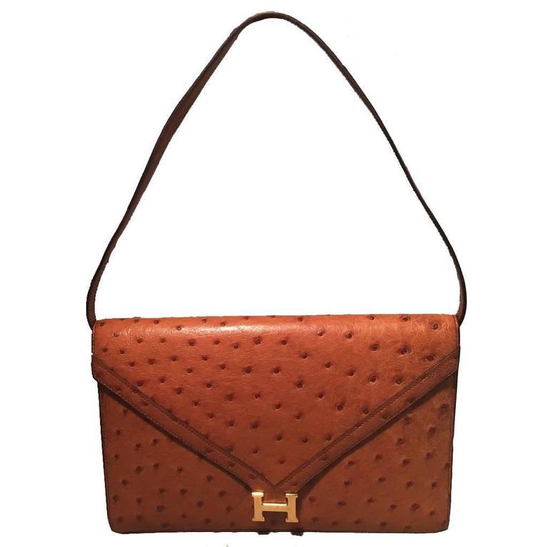 Hermes Vintage Tan Ostrich Leather Shoulder Bag 1