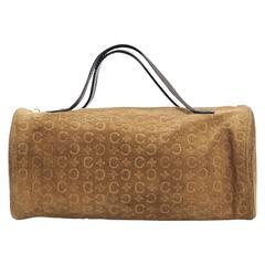 Tan Celine Suede Embossed Bag