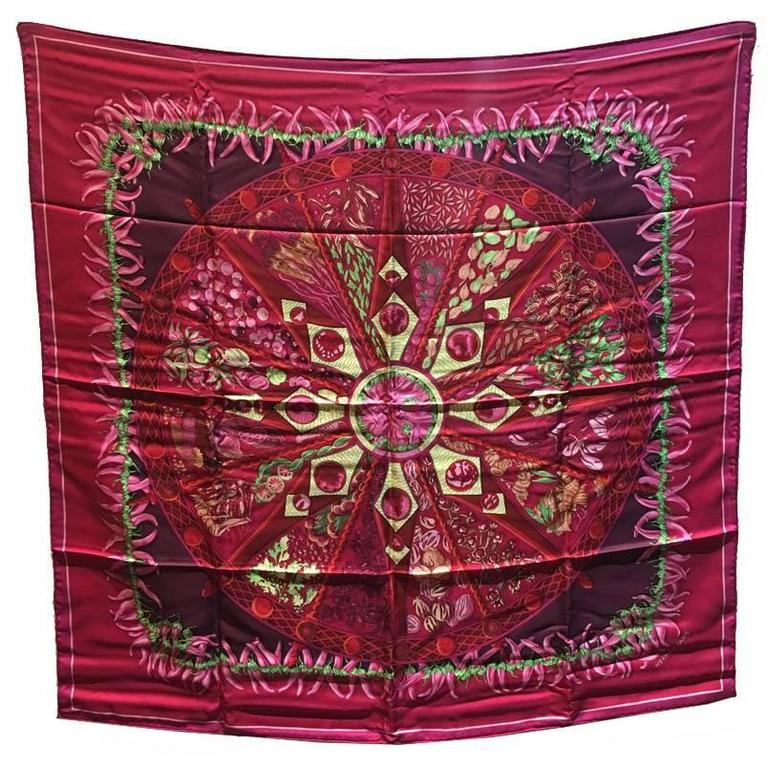 Hermes Silk Aux Pays des Epices Pink Silk Scarf