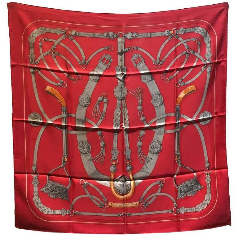 Hermes Vintage Red Gaucho Silk Scarf c1970s For Sale