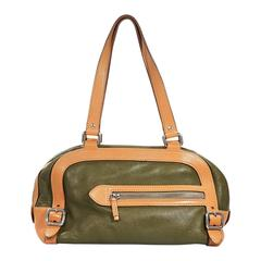 Green & Tan Prada Leather Shoulder Bag