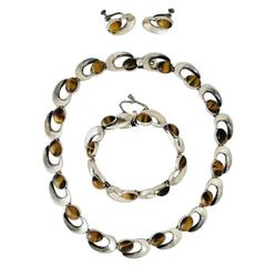 Antonio Pineda Tiger Eye Sterling Silver Parure