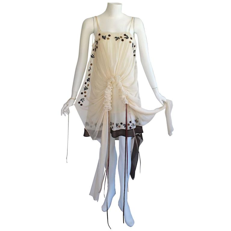 Marni Limited Edition  Ivory Silk Floral Applique   Ribbon Trim Dress