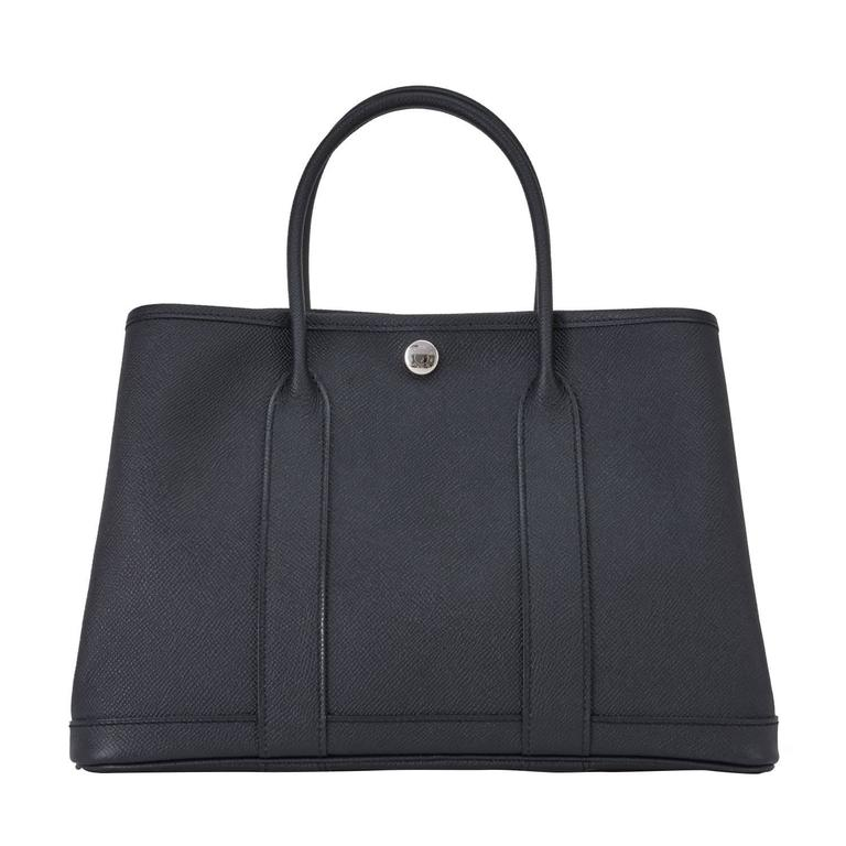 Hermes Black TPM Epsom Garden Party Tres Petite Modele 30cm Tote Bag For Sale