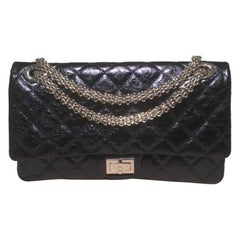 Chanel Blue Metallic Quilted Distressed Leather 2.55 Double Flap Reissue Classic