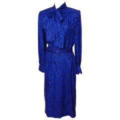Adele Simpson Purple Silk Dress with Pussy Bow Collar Silk Floral Print Sz L 80s