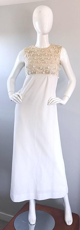 1960s Jack Bryan Ivory and White Crochet Lace Beaded Vintage Maxi Dress / Gown  In Excellent Condition For Sale In Chicago, IL