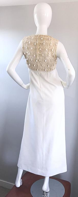 Women's 1960s Jack Bryan Ivory and White Crochet Lace Beaded Vintage Maxi Dress / Gown  For Sale
