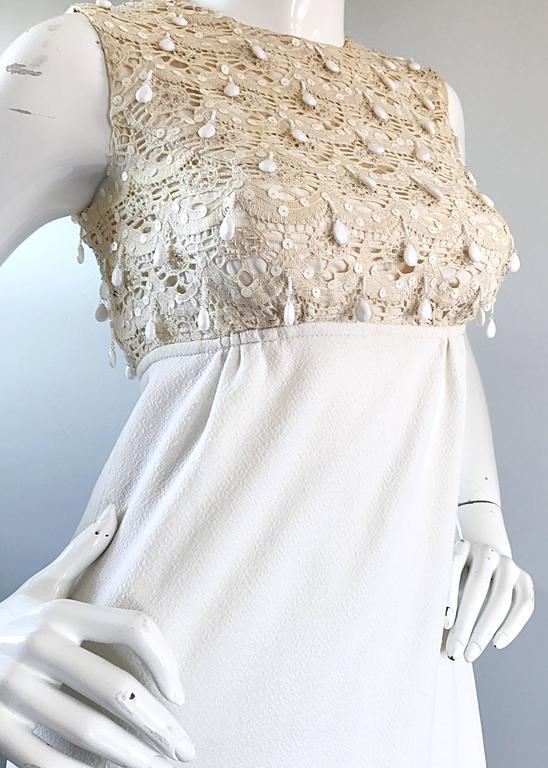 1960s Jack Bryan Ivory and White Crochet Lace Beaded Vintage Maxi Dress / Gown  For Sale 1