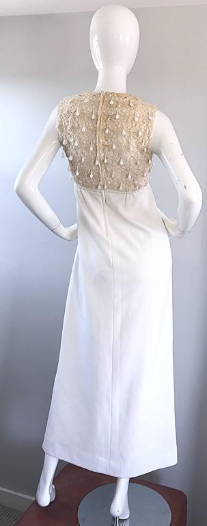 1960s Jack Bryan Ivory and White Crochet Lace Beaded Vintage Maxi Dress / Gown  For Sale 5
