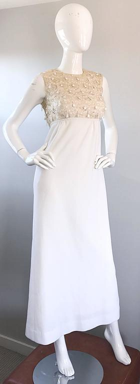 1960s Jack Bryan Ivory and White Crochet Lace Beaded Vintage Maxi Dress / Gown  For Sale 2