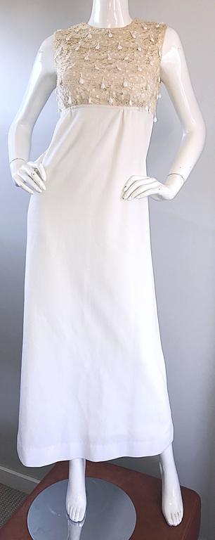 1960s Jack Bryan Ivory and White Crochet Lace Beaded Vintage Maxi Dress / Gown  For Sale 4