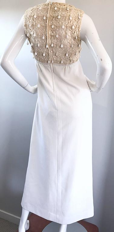 1960s Jack Bryan Ivory and White Crochet Lace Beaded Vintage Maxi Dress / Gown  For Sale 6