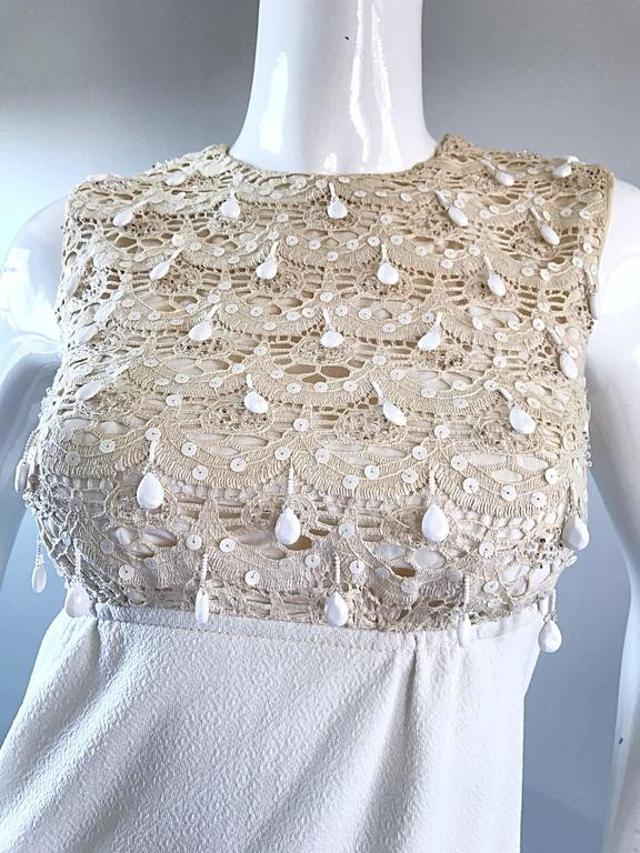1960s Jack Bryan Ivory and White Crochet Lace Beaded Vintage Maxi Dress / Gown  For Sale 3