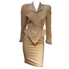 Rare Sophisticated Early 1990s Thierry Mugler TwoPieces Tuxedo Skirt Suit