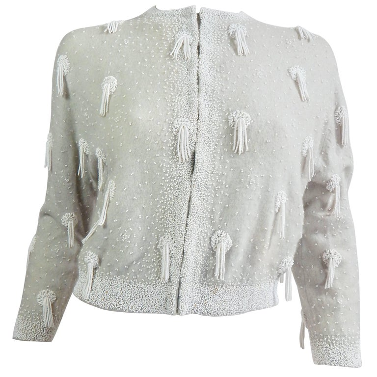 1950s Beaded Cashmere Cardigan with Tassels