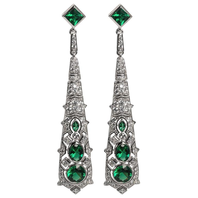 Magnificent Costume Jewelry Diamond Emerald Art Deco Revival Earrings For