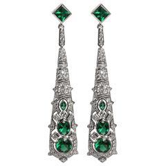 Synthetic Diamond Emerald Art Deco Revival Earrings