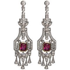 Faux Diamond Ruby Art Deco Revival Earrings