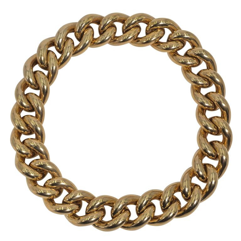 Collezione Monte Napoleone Large Gold Vermeil Sterling Curb Bold Link Necklace 1