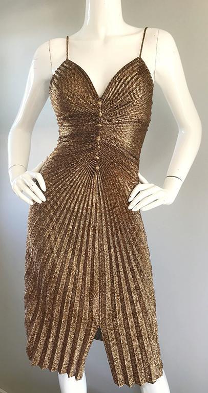 1970s Vintage Samir Sexy Gold Bronze Studio 54 Pleated