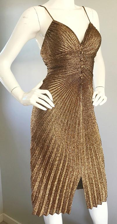 1970s Vintage Samir Sexy Gold Bronze Studio 54 Pleated