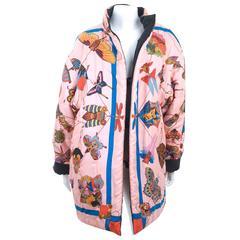 "Vintage Hermes Reversible Puffer Coat Silk ""Soies Volantes ""size Large"