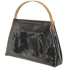 Spring!  Black Patent Leather Kelly Style bag.  Rare form.