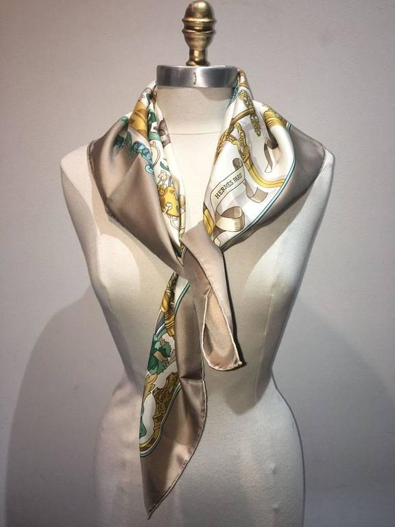 Hermes Copeaux Silk Scarf in Taupe and White  2
