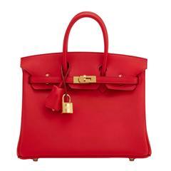 Hermes Vermillion Lipstick Red 25cm Swift Birkin Gold Hardware Jewel
